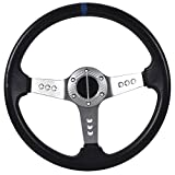 10 steering wheel with horn - Universal Fitment 350MM PVC 6 Hole Steering Wheel Deep Dish Silver Spoke Horn & Black Emblem by IKON MOTORSPORTS