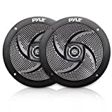 Low-Profile Waterproof Marine Speakers - 240W 6.5 Inch 2 Way 1 Pair Slim Style Waterproof and Weather Resistant Outdoor Audio Stereo Sound System, For Boat, Off-Road Vehicles - Pyle (Black)