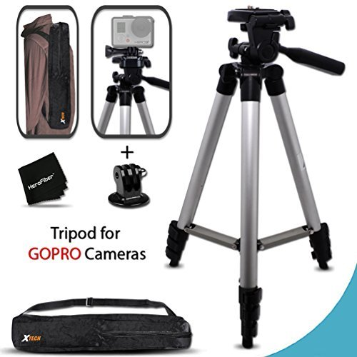 Xtech Durable Pro Series 60 inch Tripod for GoPro HERO4 Session, HERO4 Hero 4, GoPro Hero3+, GoPro Hero3 Hero 3, GoPro…