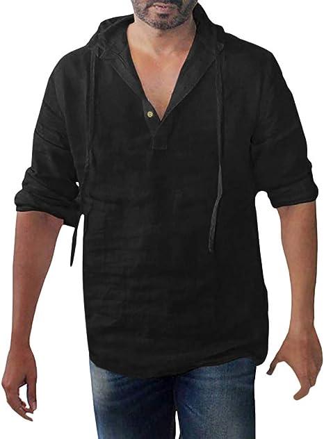 ღLILICATღ Casual Deportes Camisa con Capucha De Manga Larga, Botones De AlgodóN De Color SóLido Cuello en V, De Gran TamañO para Hombre: Amazon.es: Deportes y aire libre