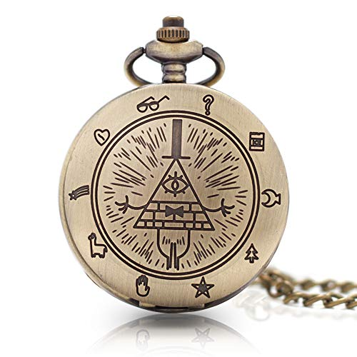 1 x Vintage Bill Cipher Pocket Watch Necklace Pendants Quartz Vintage Pocket Watch with Chain for Men Women Gift