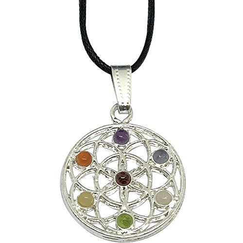 BellaMira Rose Gold Silver Flower of Life Amethyst Orgone Sacred Geometry Spiritual Pendant Necklace Jewellery for Women Girls in Elegant Gift Box (Flower of Life 7-Chakra (Alloy))