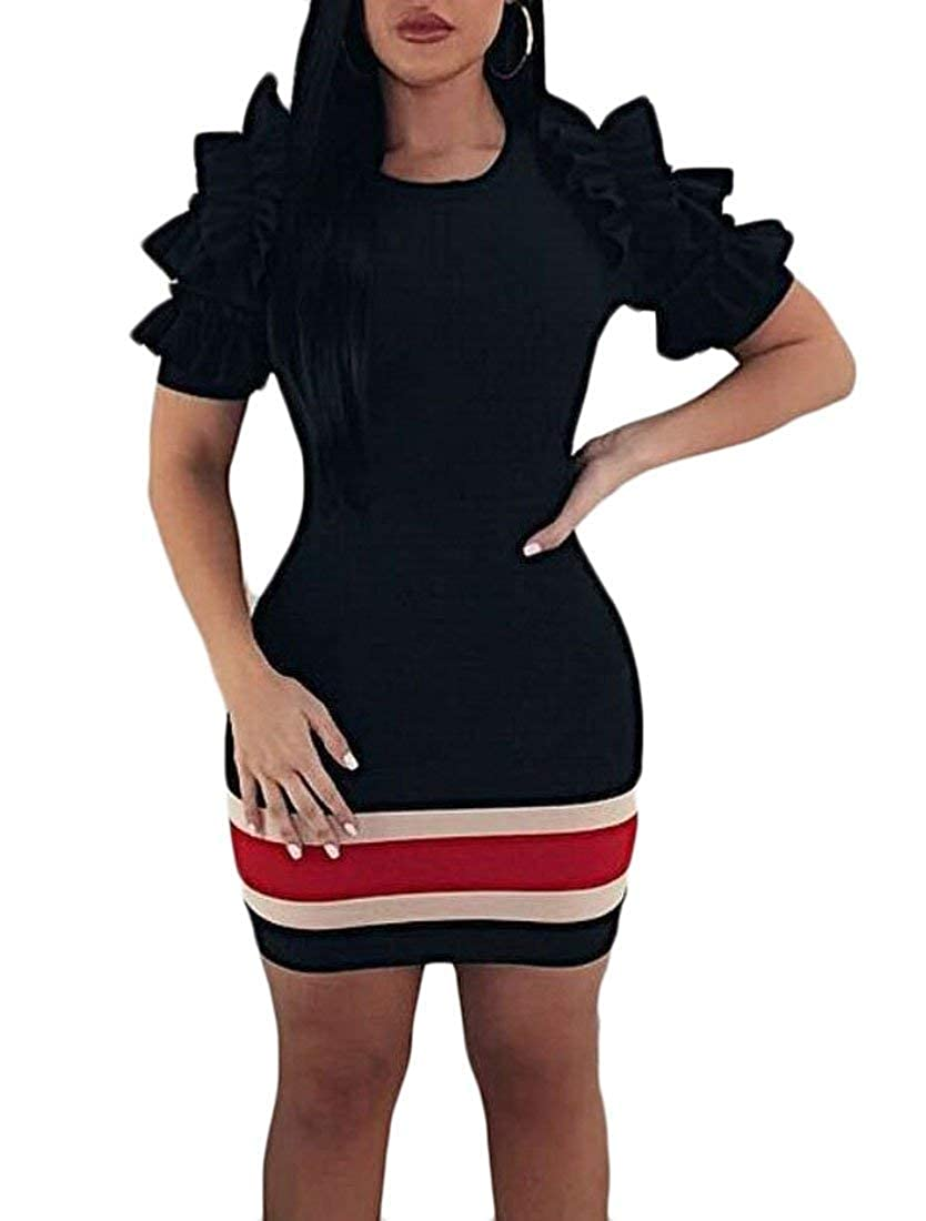 Vgvgh Womens Double Layered Sleeve Pencil Slim Fit Club Party Mini Dress