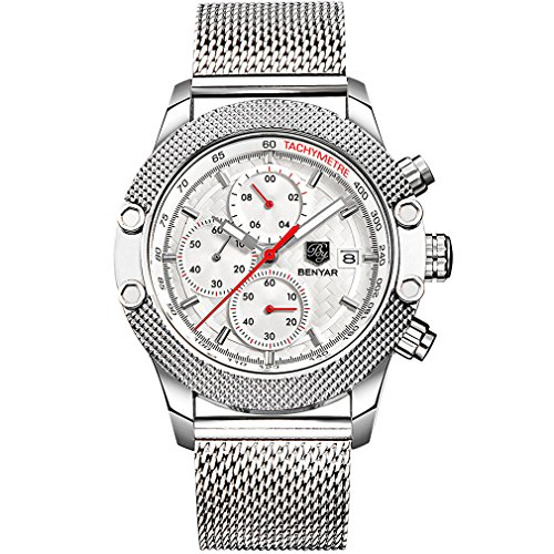 Chronograph Watch Stainless Steel Strap (BENYAR Business Sport Mesh Stainless Steel Band Strap Chronograph Waterproof Wrist Watches (Silver White))