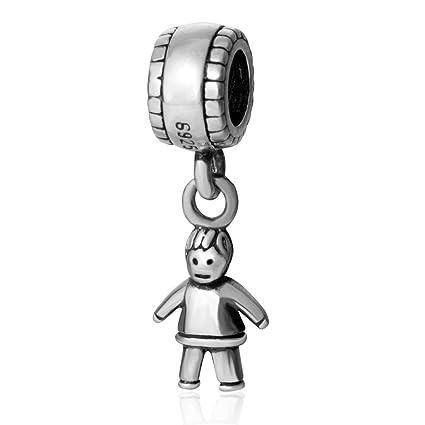 4e6e10f21 Amazon.com: Little Baby Boy Charms Original 925 Sterling Silver Happy Child  Dangle Bead Birthday Charms for Bracelet Pandora Charms (Boy Charms): Arts,  ...