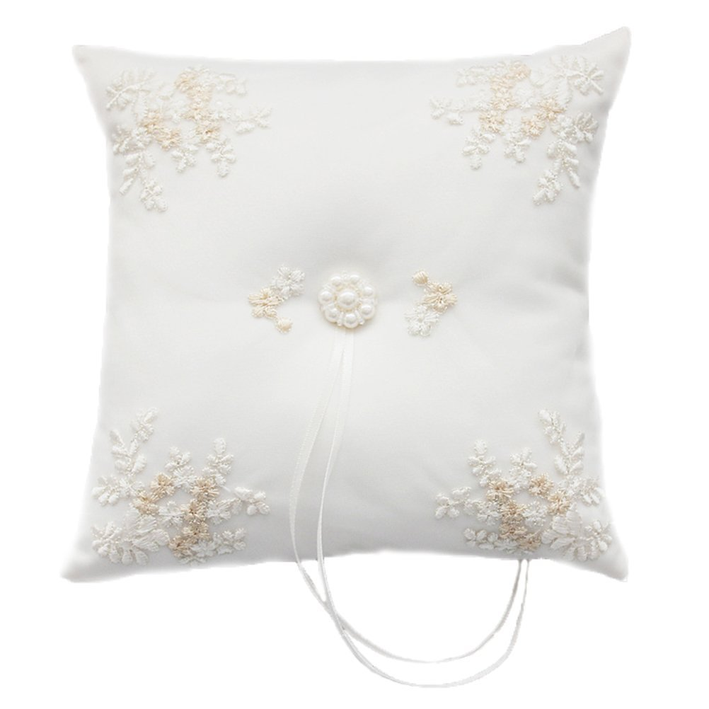 BessWedding Embroidered Flower Pearl Ring Pillow for Wedding Party Prom 010A by BessWedding
