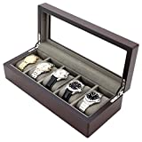 Watch Box Wood Grain XL Large Compartments High Clearance Glass Window (Espresso Brown, 5 Watch Box)