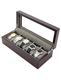 Tech Swiss 5 Watch Box Expresso Brown Finish