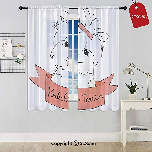 (Cute Puppy with Hair Buckle Yorkie Terrier Animal Ribbon Cartoon Character Print Decorative Rod Pocket Sheer Voile Window Curtain Panels for Kids Room,Kitchen,Living Room & Bedroom,2 Panels,Each 42x45)