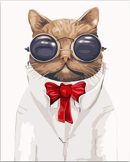 Animal americano gato con corbata de vidrio bricolaje pintura al ...