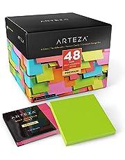 ARTEZA Notas adhesivas 76 mm x 76 mm | 48 tacos de 100 hojas | Paquete de posits de colores surtidos | Reutilizables sin dejar marca | Ideales para la oficina y el hogar