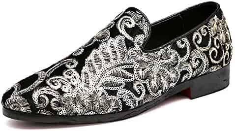 f0dc795e699 Santimon Mens Loafers Velvet Sequins Embroidery Smoking Slippers Dress  Shoes Wedding Moccasin Slip-On Flats