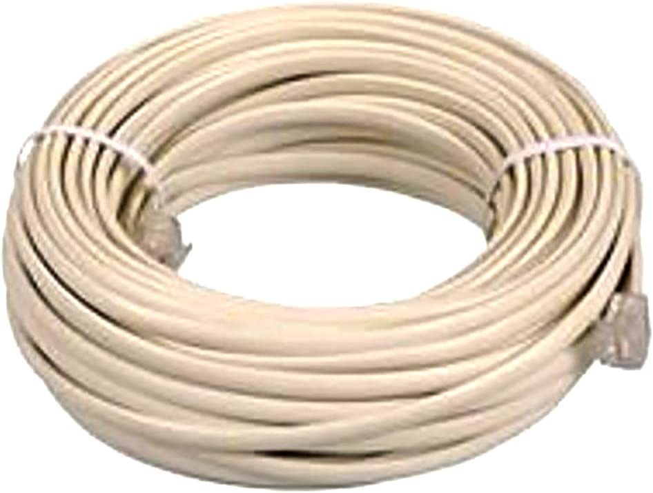 BoostWaves White 20/' RJ-11 Telephone Extension Cord Cable Line Wire With