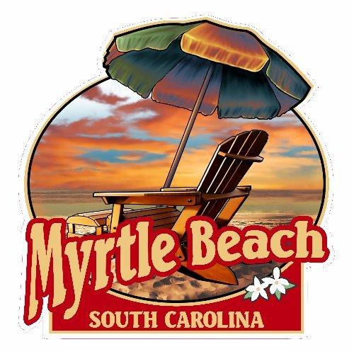 U.S. Custom Stickers Myrtle Beach Umbrella And Chair Beach Sticker, - Shops Beach At Myrtle