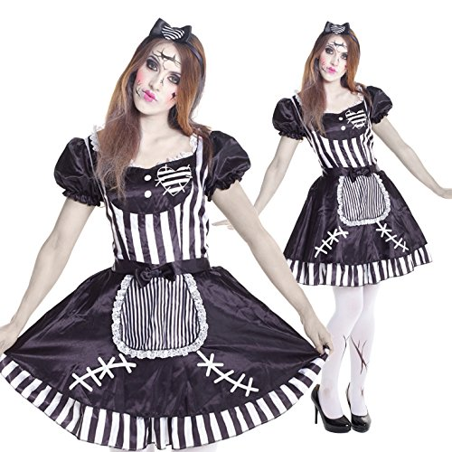 [Womens Zombie Doll Puppet Fancy Dress Costume Costume,Med 6 - 8 US,Black] (Fantastic 4 Costume Uk)