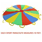 Multi-color 10 feet Parachute - Ideal Summer Sport Activity Playchute For Kids - Amazing Exerciser, Gift, Game, and more!