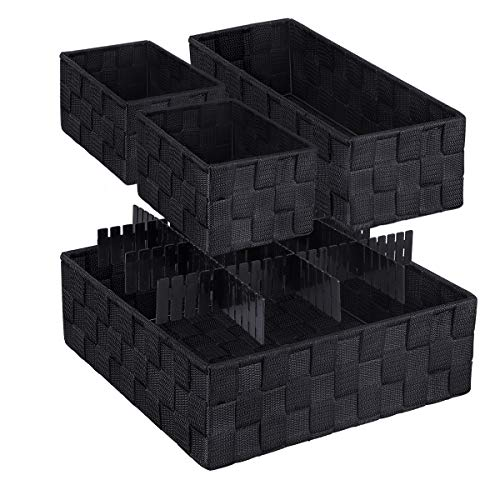 LEAVINSKY Woven Box, Nylon Storage Bin, Nylon Storage Basket, Black Woven Basket, Black Woven Storage Box Container, Underwear Socks Bra Organizer Divider for Drawer, Woven Basket Set of 4, Black