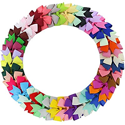 Fortop Baby Girls Boutique Grosgrain Ribbon Pinwheel Hair Bows With Clips For Teens Babies 40Piece