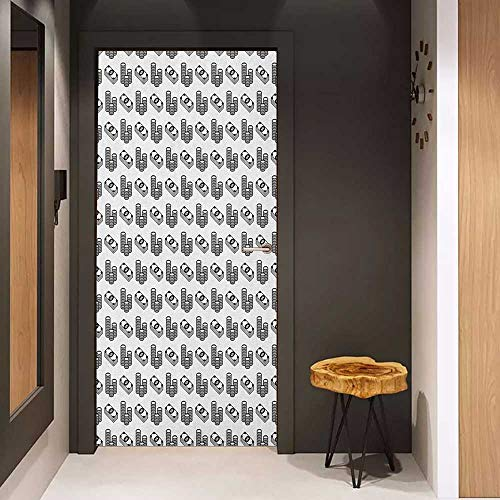 (Onefzc Door Sticker Mural Money Monochrome Stacked Coins and Dollar Bills Simple Doodle Style Economy Themed Pattern WallStickers W35.4 x H78.7 Black White)