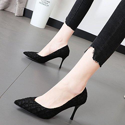 Xue Qiqi luz del alto-Heel Shoes desayuno elegante punta fina textura y 400 Terreno solo zapatos Negro