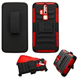 Asmyna Cell Phone Case for ZTE Axon Pro - Retail Packaging - Black/Red