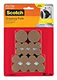 Scotch Gripping Pads Value Pack, Round, Brown, Various Sizes, 36 Pads/Pack, 4-Packs (144 Total)