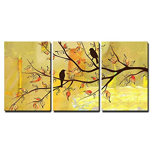 wall26 - 3 Piece Canvas Wall Art - Two Birds on Tree Branches on Vintage Yellow Background - Modern Home Decor Stretched and Framed Ready to Hang - 24