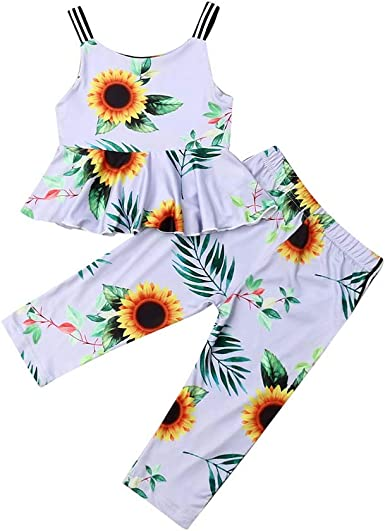 Details about  /Toddler Baby Girls Sleeveless Ruffle Floral Print Vest Tops+Solid Pants Outfits