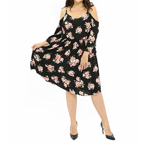 ck Boho Floral Print Chiffon Casual Sleeveless Short Dress(black6) ()