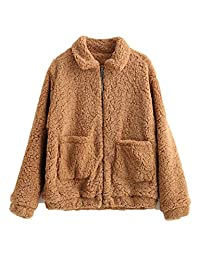 KENANCY Womens' Fashion Zip Up Outerwear Fluffy Faux Fur Winter Coat with Pockets