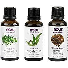 3-Pack Variety of NOW Essential Oils: Breathe Deep Blend - Rosemary, Eucalyptus, Myrrh