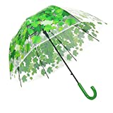 XUANLAN Transparent Leaf Bubble Dome Umbrella, Romantic Clear Semi-automatic POE Stick Umbrella for Rain and Wind (Green Leaf)