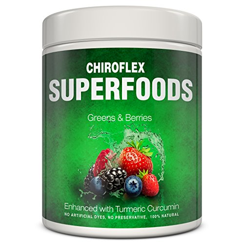 Alkalizing Powder (Chiroflex Superfood Greens Powder Supplement - Chlorella Superfoods Powder - Super Amazing Wheatgrass, Green Vegetables & Berries - Alkalizing Detox Daily Veggie Greenfood Supergreens Juice 9.3 oz)