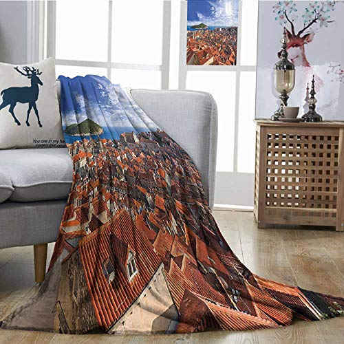 Zmcongz Home Throw Blanket European Cityscape Decor Collection Sunset of Dubrovnik City with The Island Mediterranean Culture Old Town Print Deco Bedroom Warm W54 xL72 Multi ()