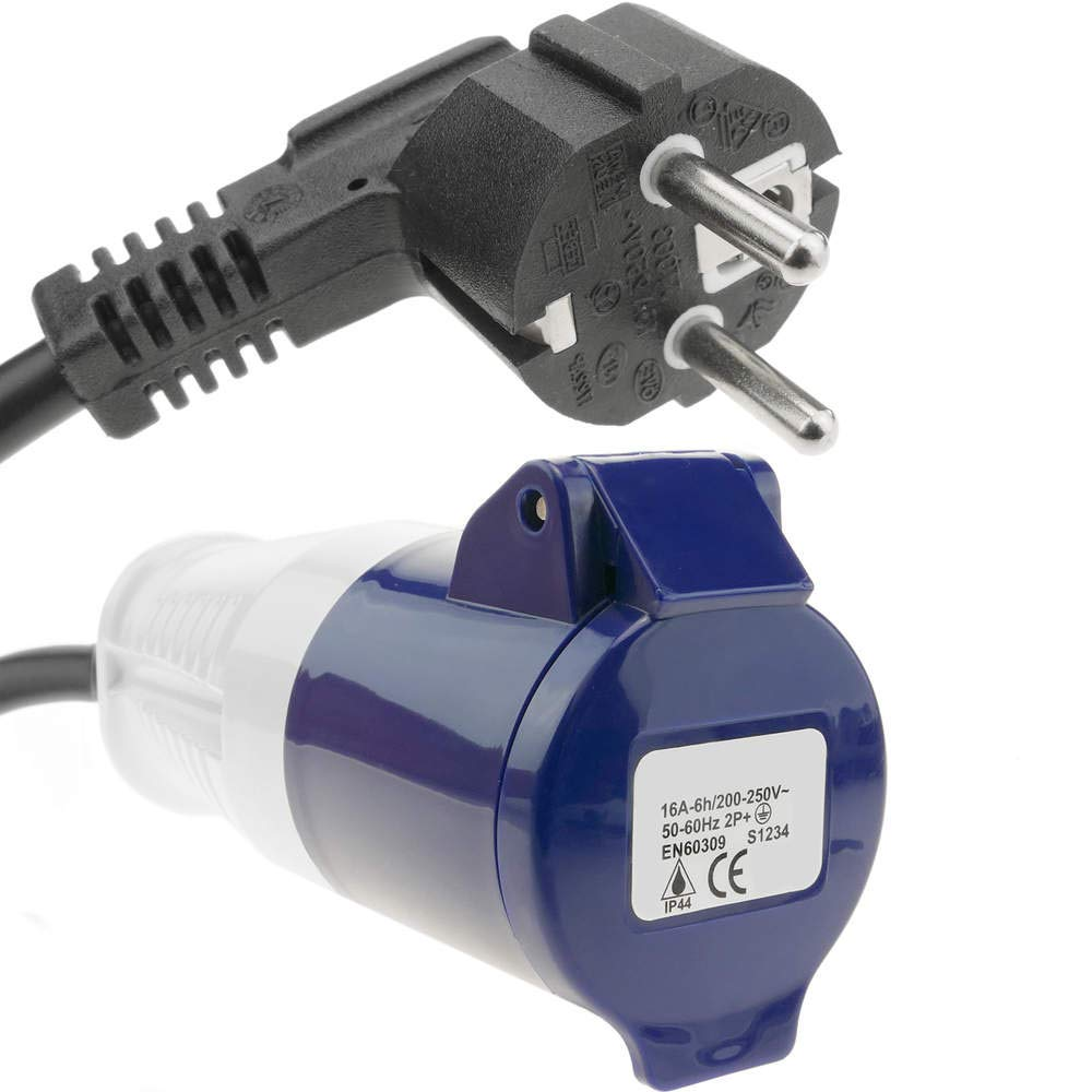 BeMatik - Enchufe Industrial Adaptador CETAC Hembra a SCHUKO Macho 2P+T 16A 250V IP44 IEC-60309 Cable 1m BeMatik.com