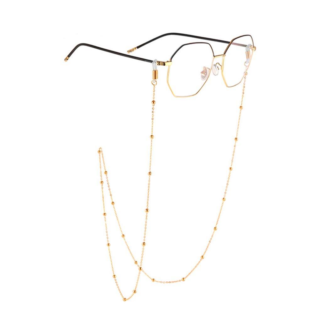 LERDBT Glaskette Brillenkette Nicht Verblassen Edelstahl Perlen Brillen Sonnenbrille Kette Schnur Brillenband Brillenhalter for Frauen