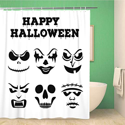 Awowee Bathroom Shower Curtain Collection of Halloween Pumpkins Carved Faces Silhouettes Black Polyester Fabric 66x72 inches Waterproof Bath Curtain Set with Hooks]()
