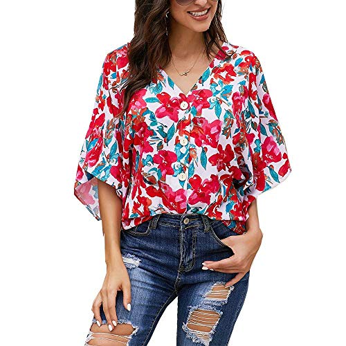 - Silindashop Womens Floral Chiffon Blouse Short Sleeve V Neck Summer Kimono Tops T-Shirt Ladies Blouses and Tops
