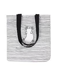 Caixia Women's Black Stripe Lazy Cat Canvas Tote Bag Beige