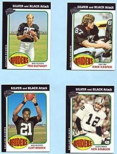 Ken Stabler, Fred Biletnikoff, Dave Casper, Cliff Branch 2004 Topps All Time Fan Favorites Silver and Black Attack 4 Card Set - Oakland Raiders