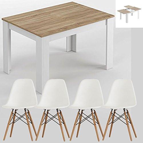 HABITMOBEL Pack 4 Sillas de Diseño + Mesa de Comedor Extensible DE ...