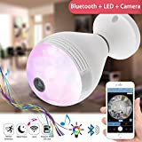 WiFi Bulb Camera with Bluetooth Speaker and Multicolored Color Light - 3 in 1 Smart Hidden Cameras Bulb with 360 Degree Fisheye Lens Panoramic LED Light for Home Security System (02 Music Blub Cam)