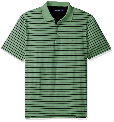 - Nautica Men's Classic Fit Short Sleeve Stripe Wicking Tech Polo Shirt, Patina Green, Medium