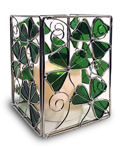 Shamrock Candle Holder with a LED Candle - Stained Glass r