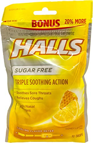Mentho Honey Lyptus Drops Lemon (Halls Cooling Flavor Lozenges Sore Scratchy Throat Soothing Relieving Cough Drops (30 Drops, Sugar Free Honey Lemon))