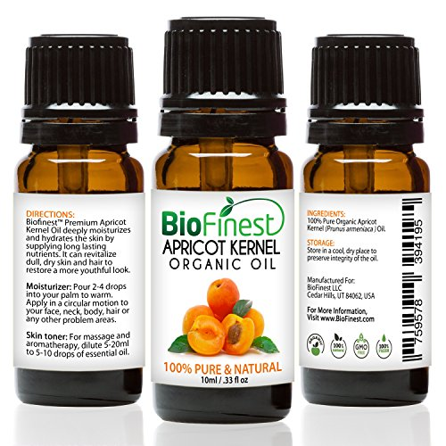 BioFinest Apricot Kernel Organic Oil - 100% Pure Cold-Pressed - Best Moisturizer For Hair Face Skin Acne Sunburn Cuts Wrinkle Scars Eczema - Essential Antioxidant, Vitamin E - FREE E-Book - Cap So Euro Usa