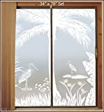Heron Hideaway Privacy Etched Glass 2-Door Scene (2 pcs 34'' x 96'')