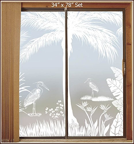 Heron Hideaway Privacy Etched Glass 2-Door Scene (2 pcs 34'' x 96'') by Wallpaper for Windows