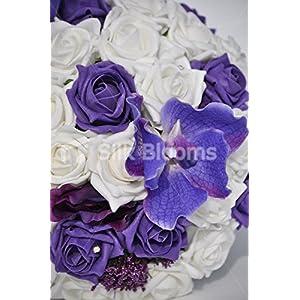 Artificial Purple Vanda Orchid, Allium and Rose Bridal Wedding Bouquet 2