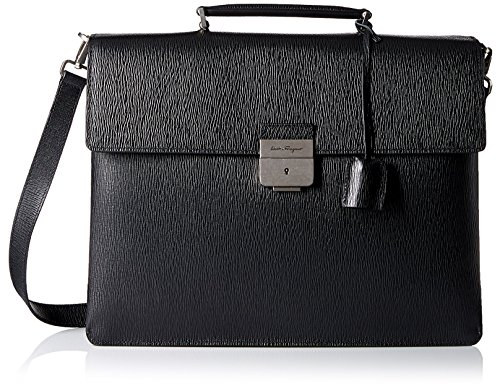 Price comparison product image Salvatore Ferragamo Men's Textured Leather Briefcase, Black, One Size